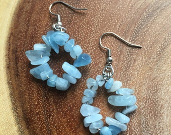Aquamarine Hoop Dangle Earrings - Stainless Steel, Sterling Silver, Polished Chip Beads, March Birthstone