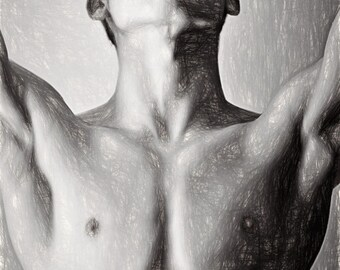 Bryce Wikman Up Gay Art Male Art Print by Michael Taggart Photography cute handsome black and white shirtless