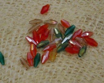 20 Czech glass beads faceted elongated 8x4mm