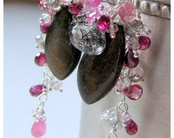 Obsidian Garnet Ruby Sapphire Quartz Earrings