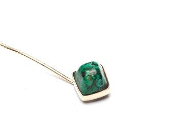 14K Victorian Malachite Sugarloaf Cabochon Stick Pin