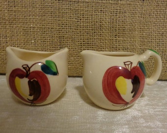Vintage Apple  Purinton Pottery Sugar and Creamer, Apple Sugar and Creamer, Purinton Apple Pottery