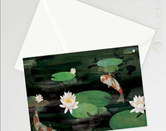 Koi Pond A6 Greetings card