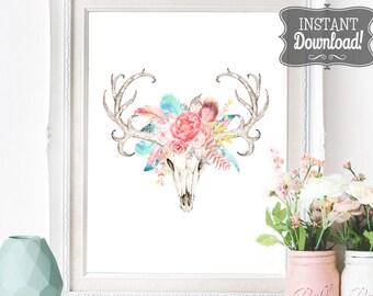 Floral Skull Poster - INSTANT DOWNLOAD - Printable Southwest Native American Bohemian inspired Digital Art Print Wedding Art, Pastel Boho