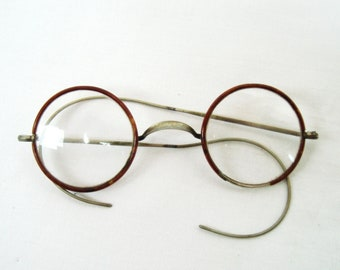 Vintage Diopter Glasses Round eyeglasses Old Rare Antique Brass frame 1900