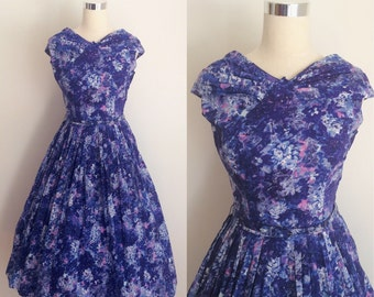 Vintage 1950s Floral Dress 26/27 inch waist | 50s Blue Cotton Dress with Watercolor Print Size Small/Medium