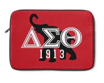 Greek Letters Delta Sigma Theta Laptop Sleeve  Red And White Laptop Sleeve  Custom 1913 Delta Laptop Sleeve  Delta Paraphernali
