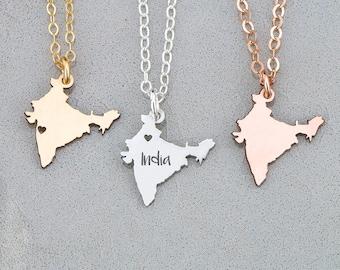 India Necklace Wanderlust Jewelry • India Charm Country Asian Necklace • Asia Charm Necklace Gift Country Pendant Travel Charm