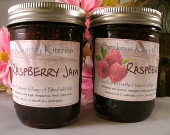 Two jars of Raspberry Jam Homemade by Beckeys Kountry Kitchen jelly fruit spreads preserves