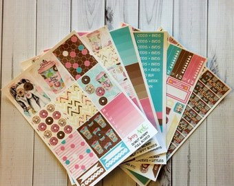 Donut Worry - Donut Weekly Planner  Sticker Kit - Vertical