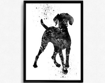 Hungarian Vizsla, Dog, Animal art, Pet, Black and White Watercolor, Poster, Room Decor, gift, Printable Wall Art (492)