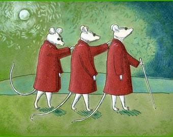 Three Blind Mice Red Coats Hand Made Card