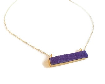 Druzy Necklace Gold - Druzy Necklace Bar - Druzy Necklace Purple