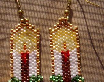 Christmas Candle Earrings Hand Made Seed Beaded