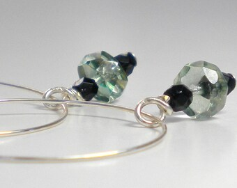 Hoop Earrings with Crystal Dangle - Transparent Green Czech Glass with Black Accent Beads - On Sale