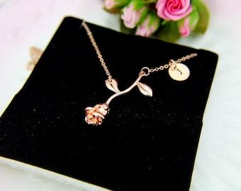 Rose Necklace, Rose Gold Rose Charm, Flower Charm, Initial Bracelet, Garden Gift, Girlfriend Gift, Mom Gift, Best Friend Gift, Sister Gift