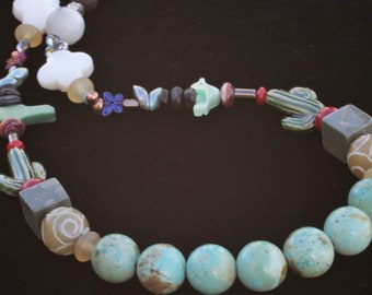 My San Xavier Mission Necklace with Genuine Kingman Turquoise For Mom For You For Someone Who Loves You 25 Inches Created by Lei