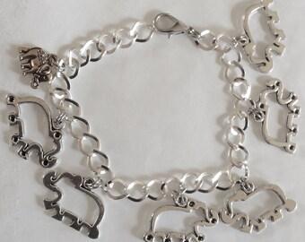 Elephant outline cut out trunk up lucky handmade silver tone bracelet choice of 19-21cm lengths available