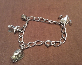 Vintage 1970's Southwest Sterling Silver Charm Bracelet With 4 Charms all Hallmarked and 925