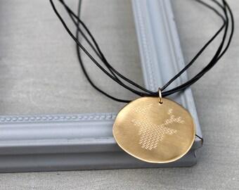 Gold Disc Necklace Engraved Deer Necklace