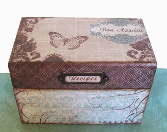 Recipe Box Personalized Wooden French Vintage Teal and Chocolate Brown