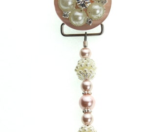 Pink Vintage Flower and Pearl Pacifier Clip (MSRP 33.00)