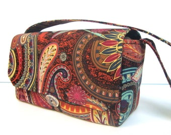 """10% OFF Large 4"""" Size Coupon Organizer / Coupon Bag /Budget Holder Box Attaches to Your Shopping Cart Brown Paisley"""