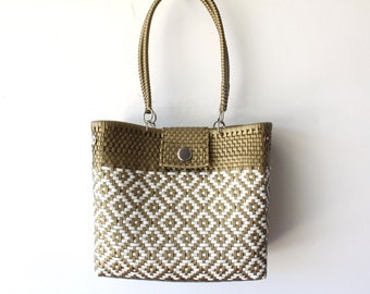 Gold & White Mexican woven plastic bag with long handles,  Mexican Tote, Oaxacan Mexico Woven Handbag, Ethnic Mexican Purse