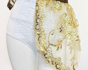 Gold Sequin Lace Bustle Skirt, Festival Fashion, Rave, EDM, Costume, Concert, Dance.