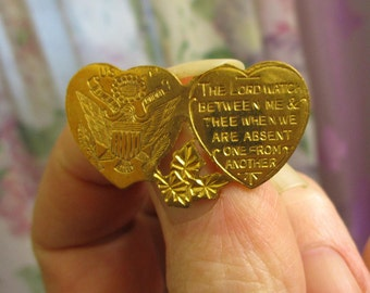 WWI Rare US American Expeditionary Forces Sweetheart Brooch ~ Antique WWI Army Eagle Gold Mizpah Homefront Brooch ~ World War I Brooch Pin