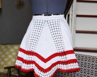 Crochet Half Apron, Red White Half Apron for Women, Vintage Half Apron, Retro Half Apron, Aprons for Women, Half Aprons for Sale