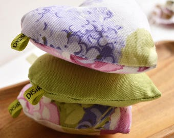 Set of 3  hearts of fabric, Valentine's day, hearts Fabric, upholstery, textile heart, Pincushion, o cotton linens, scented, green product