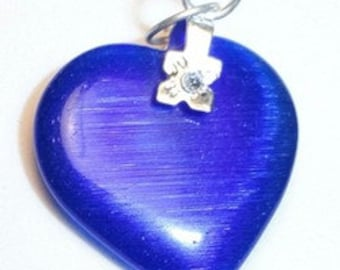 27mm ROYAL BLUE Cats Eye Fiber Optic Heart Pendant With Silver Bail