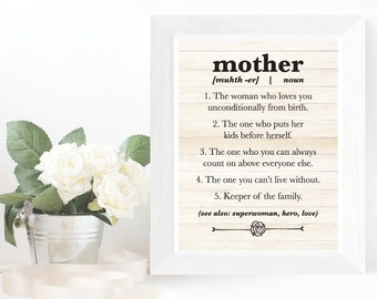 Mother Art Print DIY Mother Definition Printable Wall Art Mother's Day Printable Gift for Mom Definition Sign Mom Wall Art Mother Poster