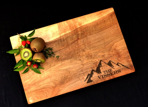 Personalized Cutting Board -Maple Custom Cutting Board- Mountain Design - Gift for Couple