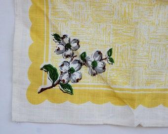 Vintage 50s Barkcloth Napkin/Hankie/Handkerchief/Doily/Retro/Mid Century/Shabby Chic