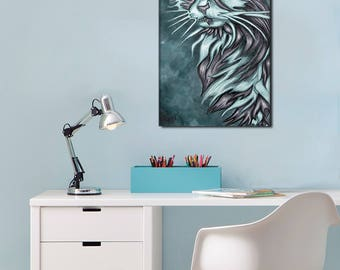 Original digital painting on canvas - Blue Cat - Limited Edition