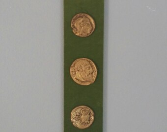 Mid Century velvet wall hanging, Brass Medallion, green velvet, vintage art