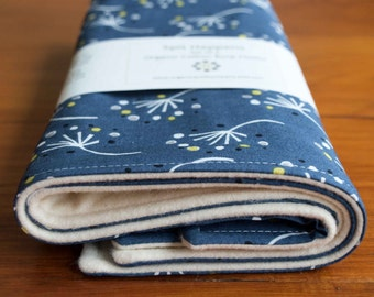 Dandelion Burping Pads; Modern Floral Burp Cloths; Navy Organic Cotton Burping Cloth Set; Handmade, Pretty Burp Pads for Baby Girl, Last Set