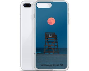 Full moon rising over Wildwood Crest lifeguard stand number 5 iPhone Case | iPhone 7, X, 6, 6S, 8 | Wildwood Tech Gifts | Lucky Star Dreams