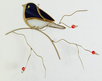 Black eyed junko stained glass dimentional suncatcher with wire twigs and red glass berries