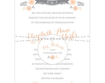 Floral Banner Folk Wedding Invitation - Collection options available