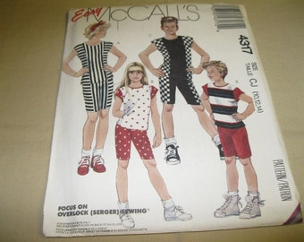 McCall's Pattern #4317 - Child's Sizes 10-12-14 - Boys' and Girls' Tops and Shorts