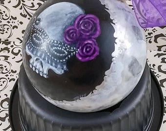 Bridesmaid Skull Wedding Ornament, Black Mask Skull, Gothic Bridesmaid Proposal, Gothic Wedding Ornament, Purple Roses, Gothic Bridal Party