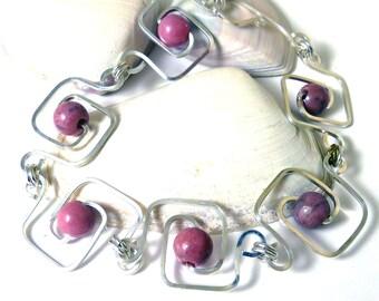 Rhodonite Geometric Squares Bracelet