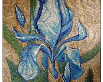 Extra large wall art mosaic Mosaic wall panel Floor mosaic Mosaic mural Tile mural outdoor Iris Flower mosaic Mosaic floor Big mosaic