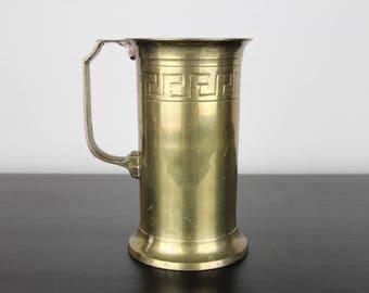 Vintage Brass Mug Tankard Stein . Engraved Brass Mug . Greek Geometric Design . Mid Century Decor . Pencil Holder . Vase . Brass Decor .