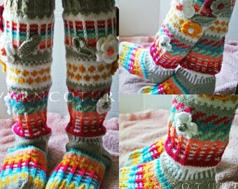 Fair Isle Handknit Knee Socks With 3D Flowers