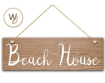 "Beach House Sign, 5.5""x17"" Wood Sign, Rustic Nautical Home Decor, Beach Decor, Beach Bathroom Sign, Signs by Woodland Crew"