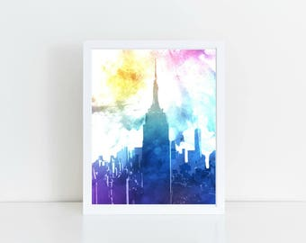 New York Skyline, Cityscape Painting, NYC Skyline, Watercolor Skyline Printable, Instant Download, 8x10 or 11x14 Printable